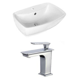 Guide to buy Above Counter Ceramic Rectangular Vessel Bathroom Sink with Faucet and Overflow By Royal Purple Bath Kitchen