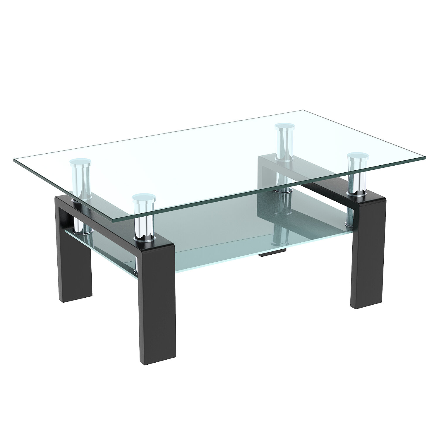 Picture of: Orren Ellis Coffee Table Rectangle Glass Modern Coffee Table With Shelf Wood Legs Suit For Living Room Living Room Furniture Waiting Area Table Black