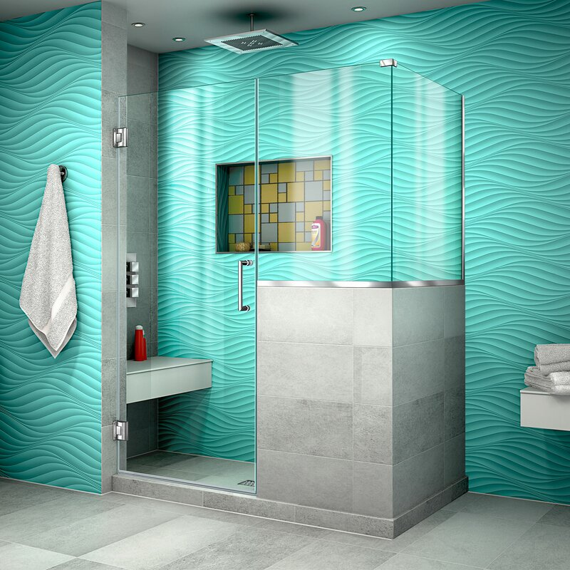 Unidoor Plus 47 X 72 Hinged Frameless Shower Enclosure With Clear Max Technology By Dreamline For Bathroom Free Returns