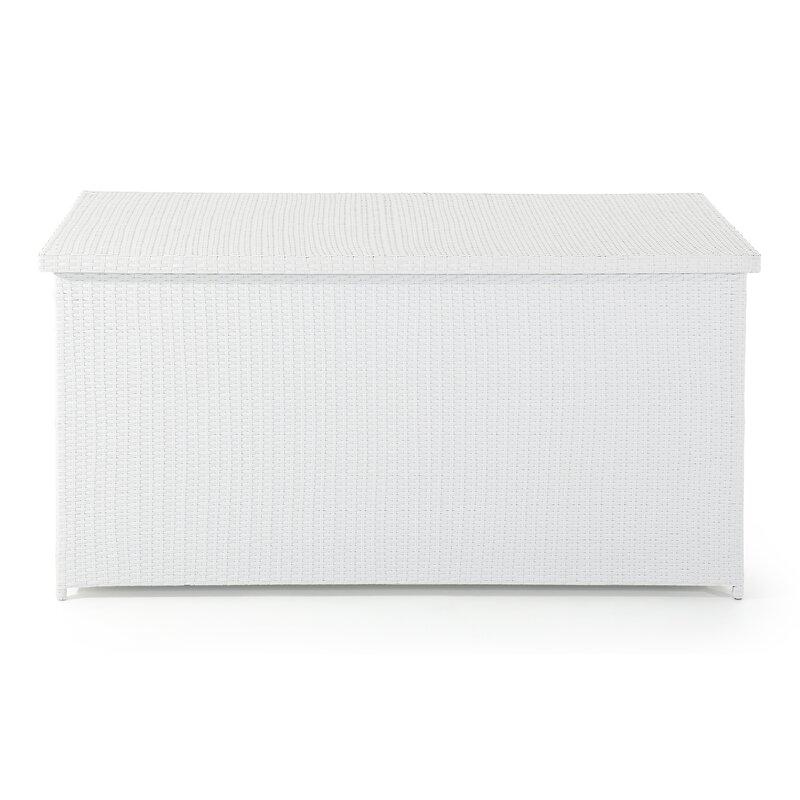 Velago 215 Gallon Wicker Deck Box  Color: White