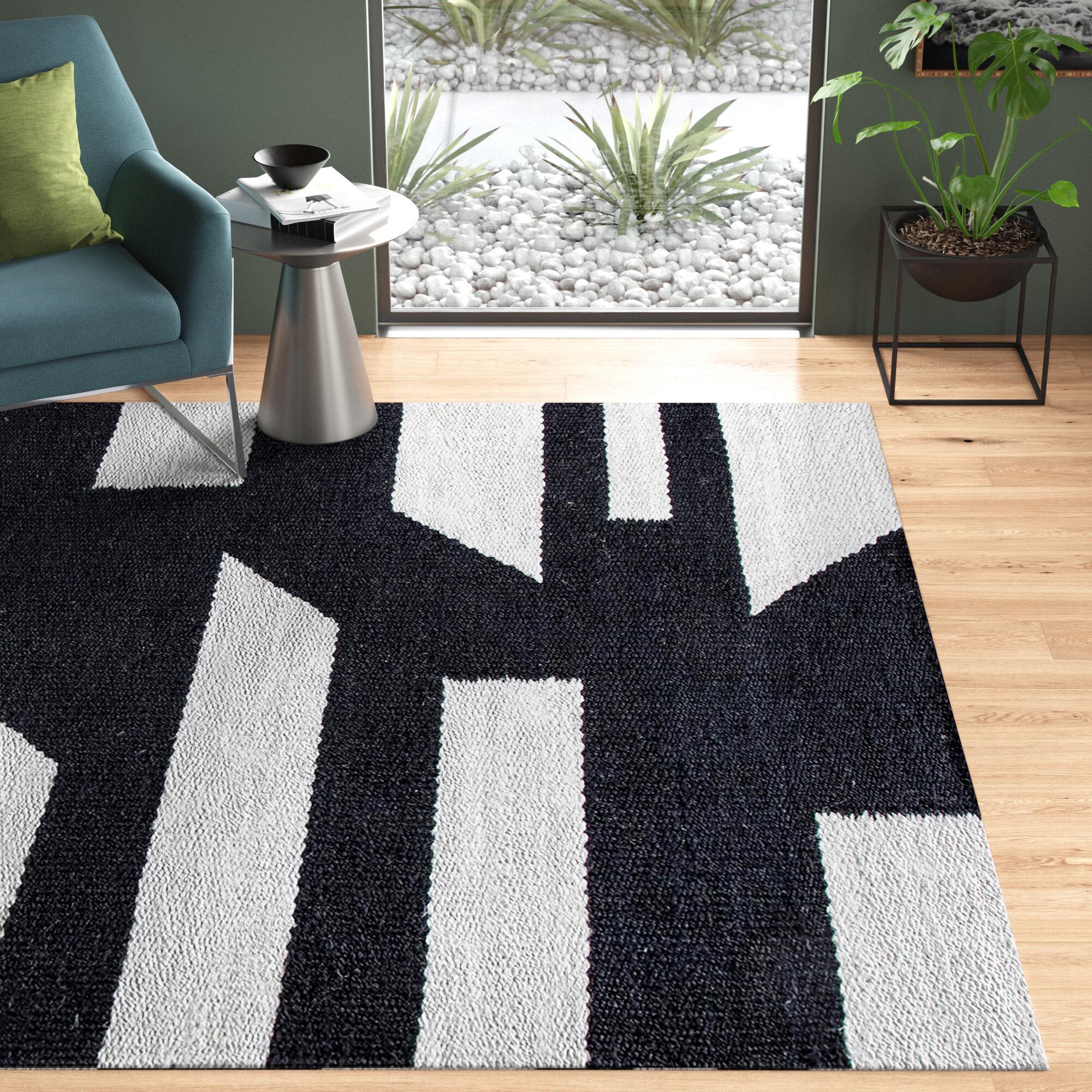 Allmodern Geometric Handmade Flatweave Jute Charcoal Gray Area Rug Reviews Wayfair
