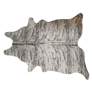 Compare Barks Cowhide Gray/White Area Rug By Foundry Select