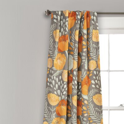 Bungalow Rose Bryonhall Poppy Garden Room Darkening Rod Pocket Curtain Panels Size: 84'' L x 52'' W, Curtain Color: Yellow