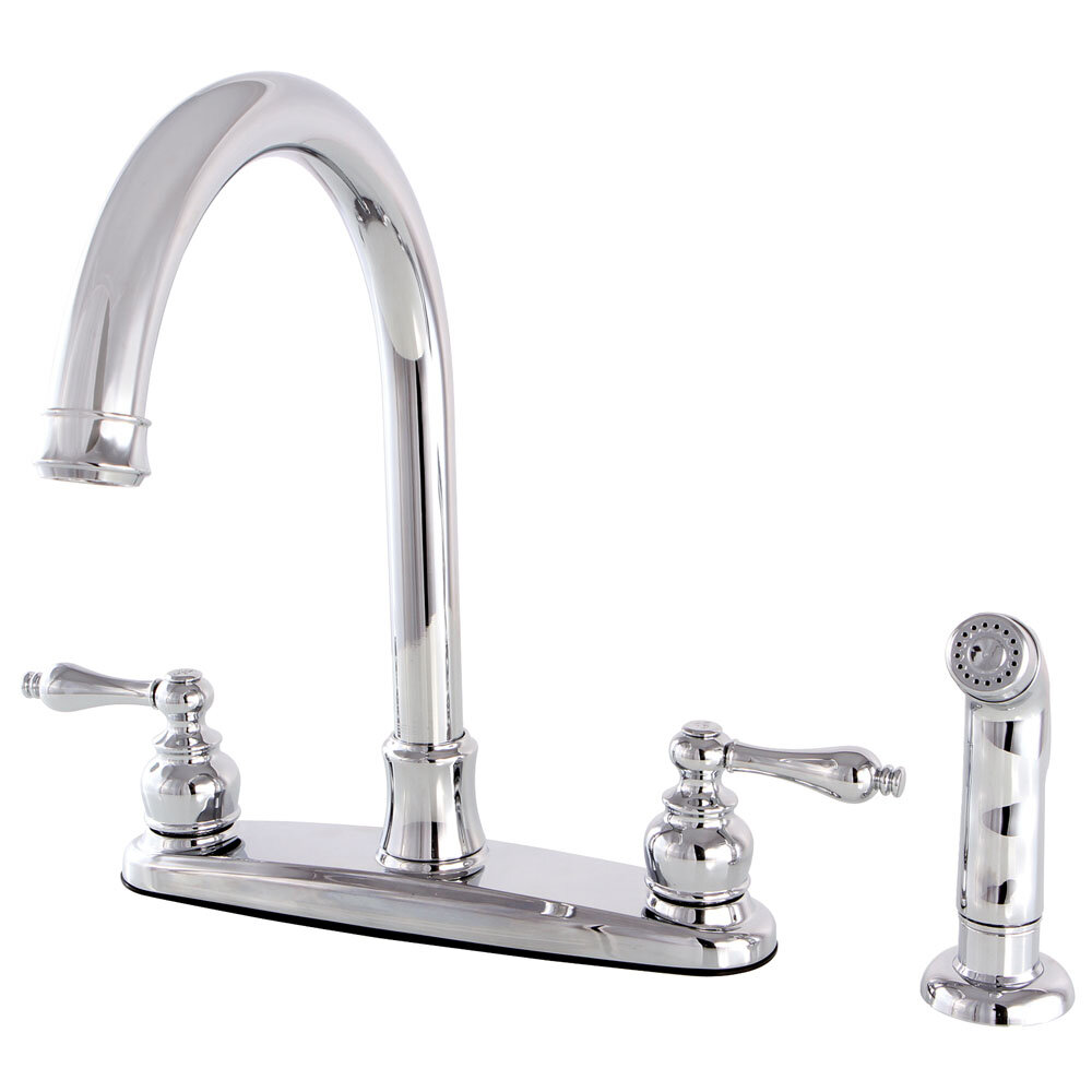 Kingston Brass Victorian Double Handle Kitchen Faucet With Side Spray Reviews Wayfair