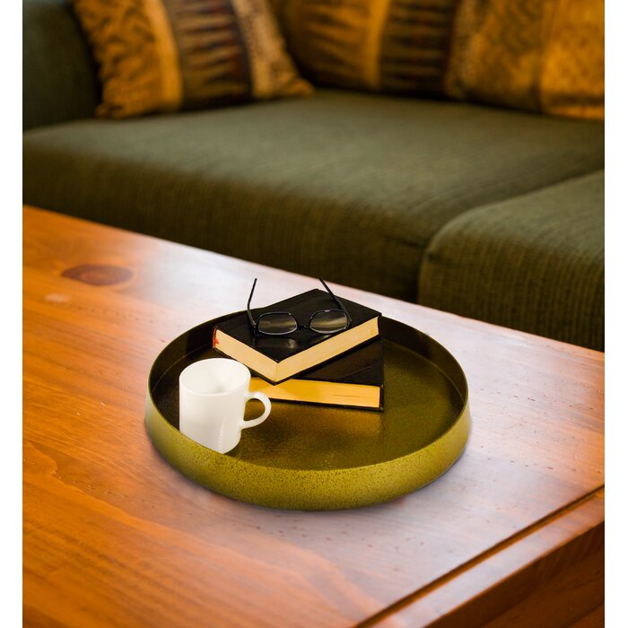 Maribel Metal Round 2 Piece Ottoman Coffee Table Tray Set