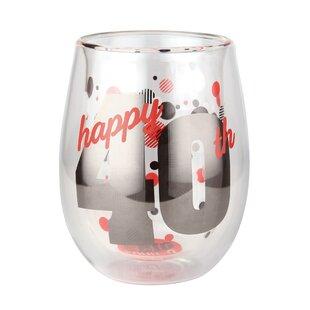 Skyee 40th Birthday 13 oz. Stemless Wine Glass