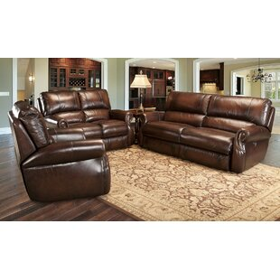 Darby Home Co Hardcastle Reclining Leather Configurable Living Room Set