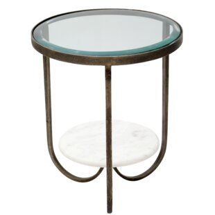 Latitude Run Hinnant Iron, Glass and Marble Trio End Table