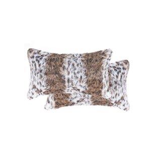 Corning Lynx Faux Fur Lumbar Pillow (Set of 2)