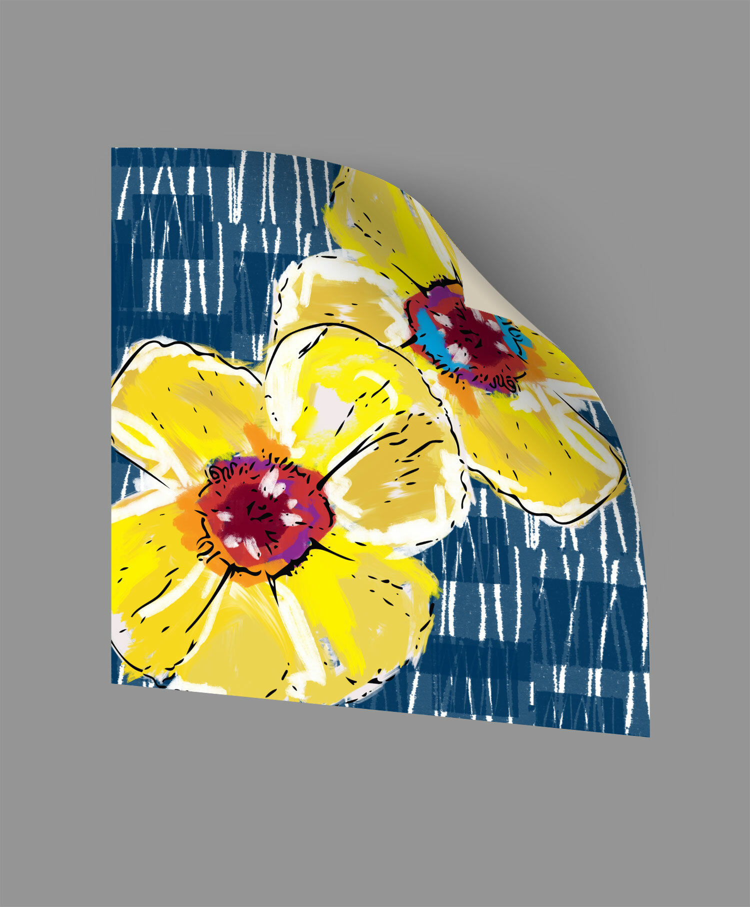 ArtWall Yellow Poppies on Blue Wall Decal | Wayfair