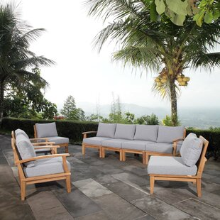 Cobb Outdoor Patio 8 Piece Teak Sectional Seating Group with Cushion by Rosecliff Heights