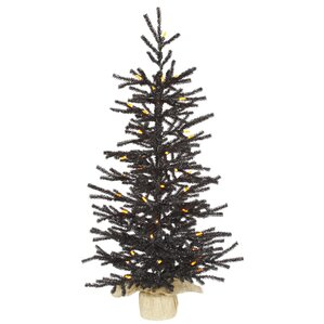 3 black pistol christmas tree with 50 led orange lights with stand - Black Christmas Trees