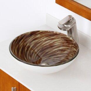 Searching for Whirlpool Glass Circular Vessel Bathroom Sink By Elite