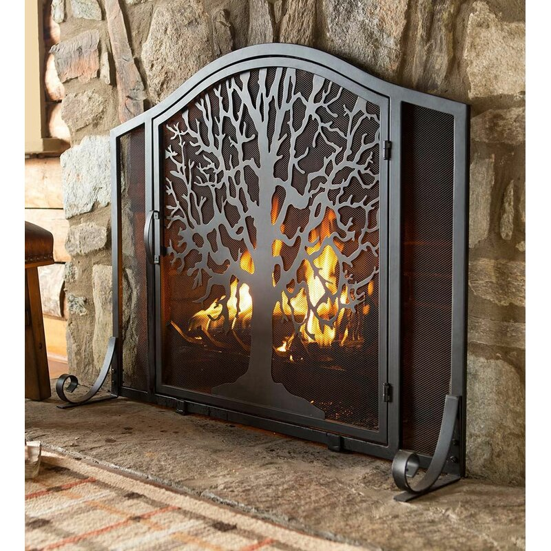 Tree Of Life Single Panel Iron Fireplace Screen