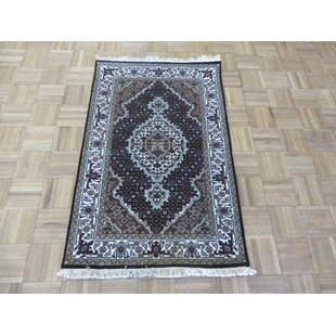 Low priced One-of-a-Kind Beaton Tabriz Hand-Knotted Black Area Rug By Isabelline