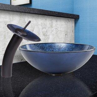VIGO Eclipse Glass Circular Vessel Bathroom Sink with Faucet