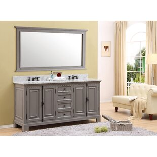 Compare Nico 71 W Double Bathroom Vanity Set with Mirror and Faucets ByAlcott Hill