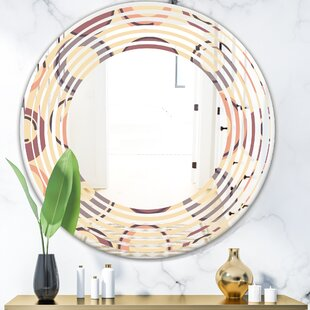 Geometric Pattern Wave Modern  Contemporary Frameless Wall Mirror