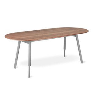 Bracket Dining Table Oval Base Walnut by Gus* Modern