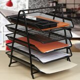 5 Tier Steel Mesh Paper Tray Desk Organizer