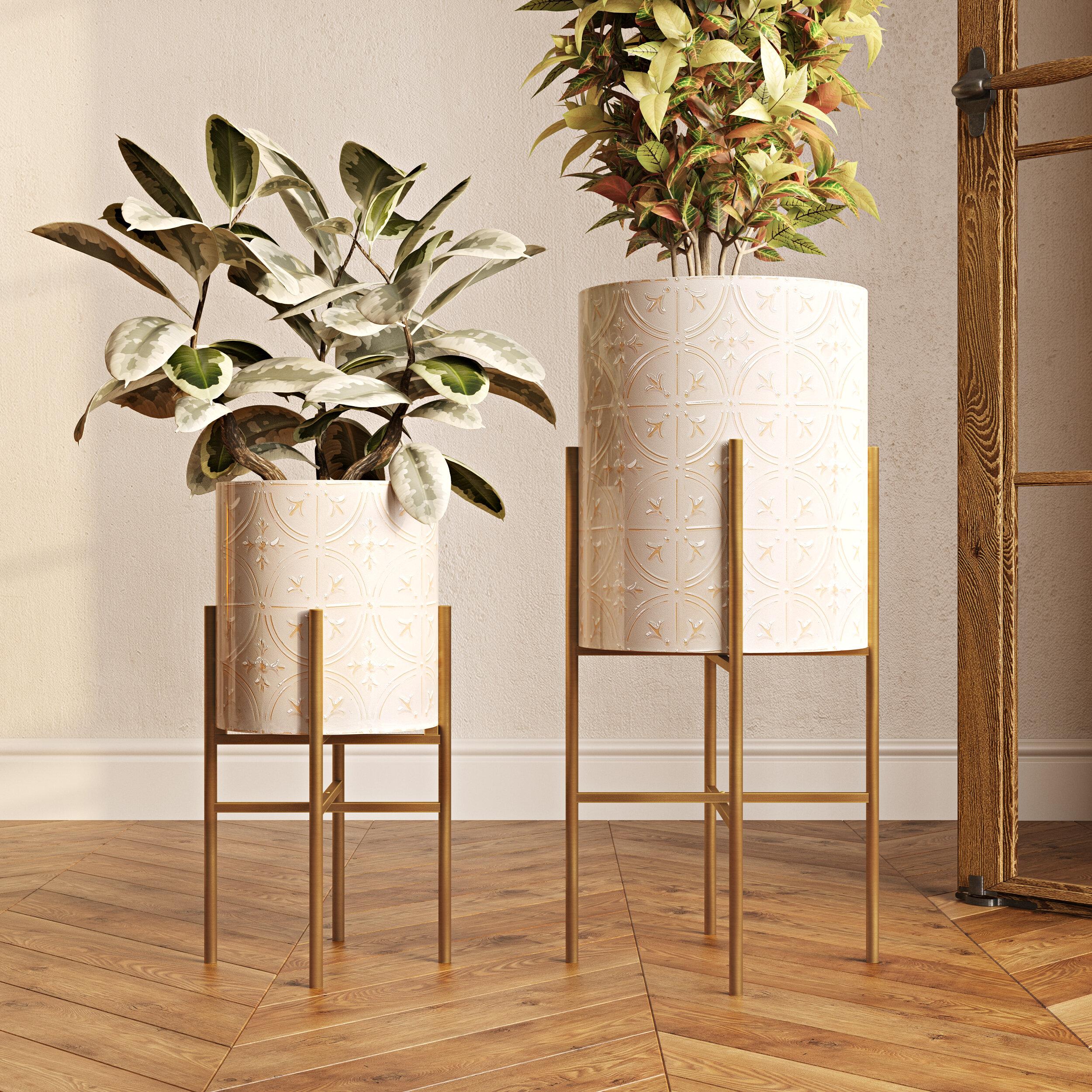 Gold Metal Planter Pots You Ll Love In 2021 Wayfair