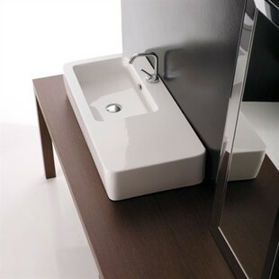 Read Reviews Kerasan Ceramic Rectangular Vessel Bathroom Sink with Overflow ByWS Bath Collections