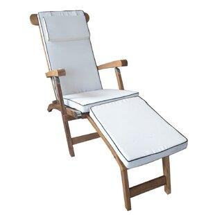 Chic Teak Titanic Teak Chaise Lounge with Cushion