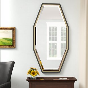Accent Mirror Framed Beveled Glass Bathroom Vanity Bedroom Decor Octagon Gold