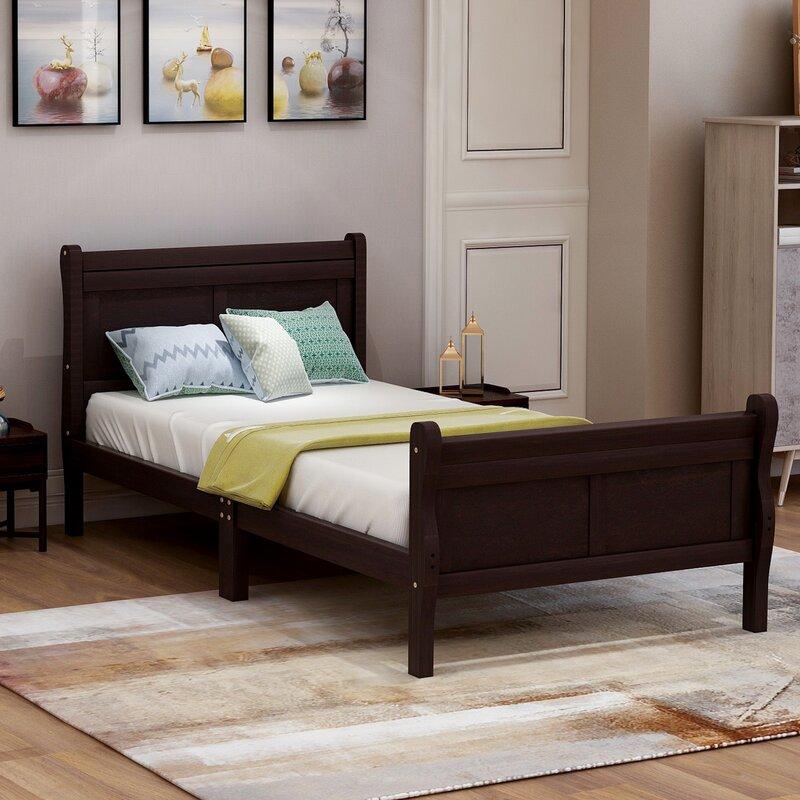 Greenline Wood Platform Bed Twin Bed Frame Mattress Foundation Sleigh Bed With Headboard Footboard Wood Slat Support Wayfair