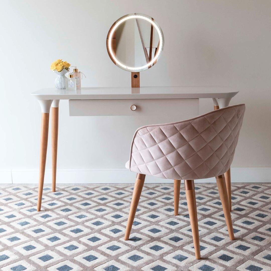 Corrigan Studio Bevins Vanity Set With Stool And Mirror Wayfair