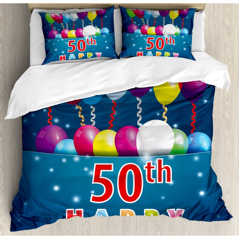 50th Birthday Decorations Joyful Mood Occasion Lettering Stars Balloons Ribbons Duvet Cover Set
