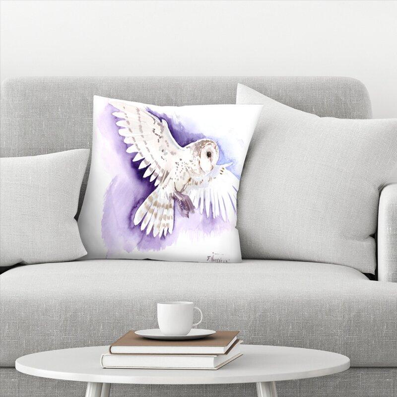 East Urban Home Flying Barn Owl Throw Pillow Wayfair