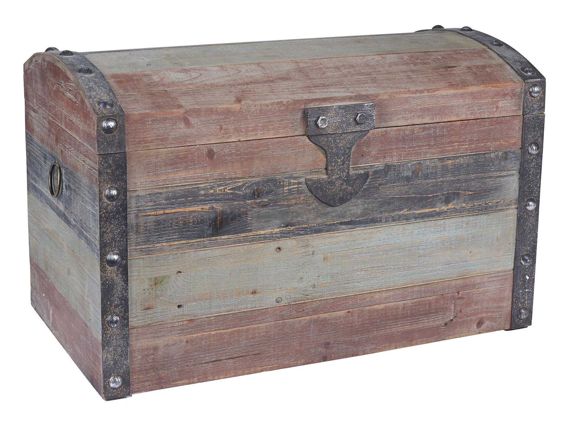 Household Essentials Large Weathered Wooden Storage Trunk U0026 Reviews    Wayfair