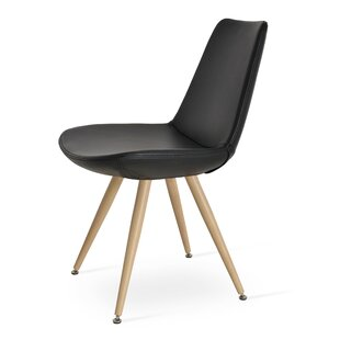 Eiffel Star Genuine Leather Upholstered Dining Chair in Black Genuine Leather