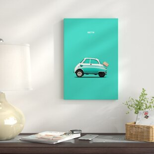 'BMW Isetta 300' Graphic Art Print on Canvas in Teal By East Urban Home