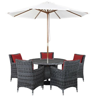 Alaia 7 Piece Rattan Sunbrella Dining Set with Cushions Cushion Color: Red by Brayden Studio
