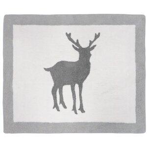 Woodland Animals Hand-Tufted Gray/White Area Rug