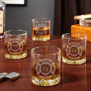 Fire and Rescue Engraved Buckman 10 oz. Whiskey Glass (Set of 4)