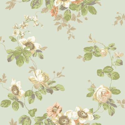 "York Wallcoverings Artisan Estate Victorian 33' x 20.5"" Floral Wallpaper Colour: Soft Grey/Green/Peache"