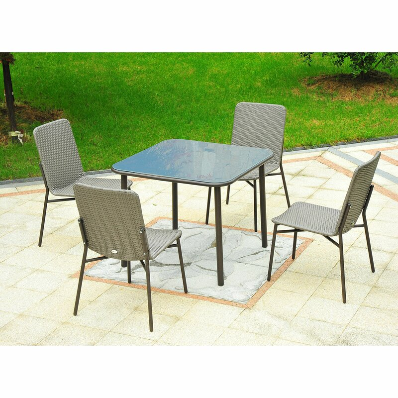 Ivy Bronx Correa Metal Rattan Wicker Outdoor Furniture 5 Piece