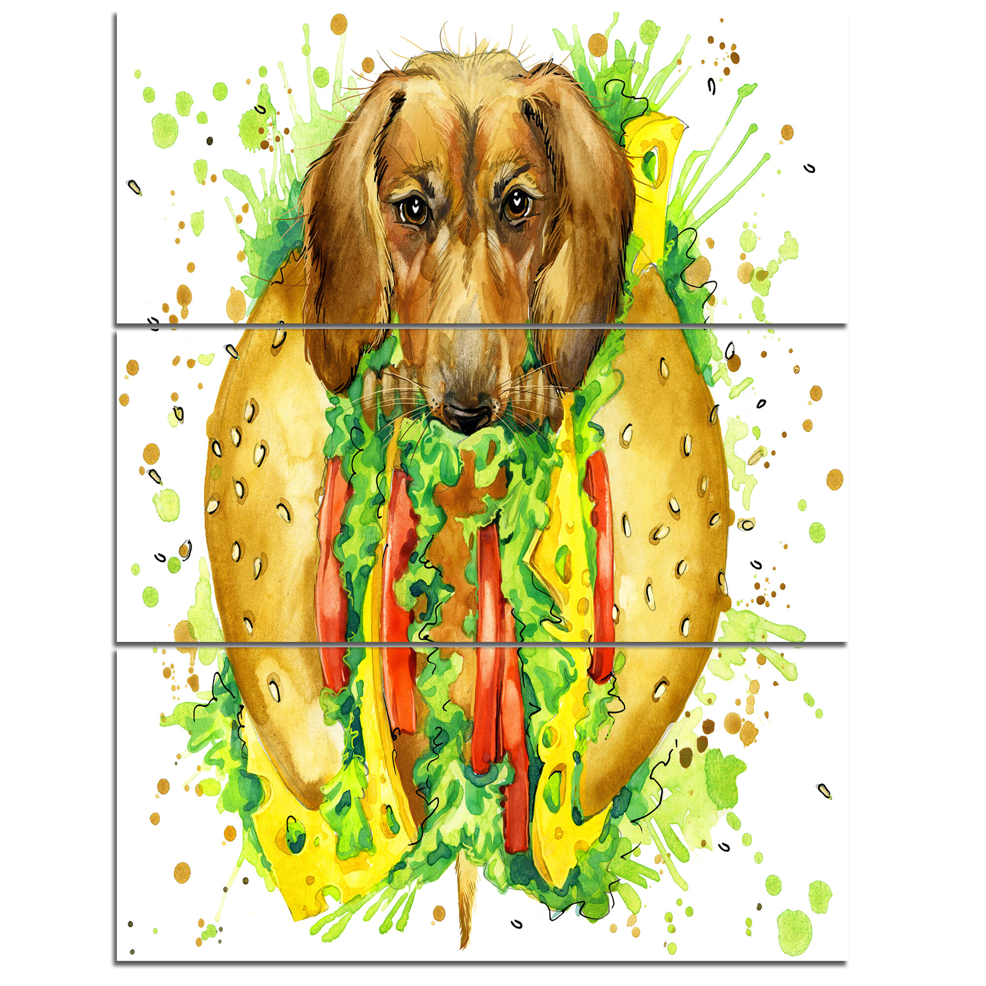 DesignArt \'Funny Dog inside Sandwich\' 3 Piece Wall Art on Wrapped ...