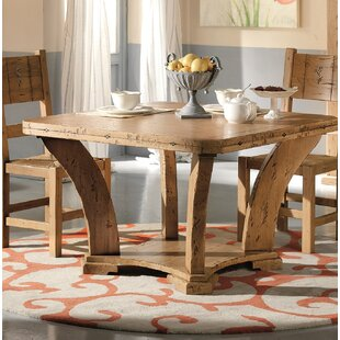 Jacobs Extendable Solid Wood Dining Table Loon Peak