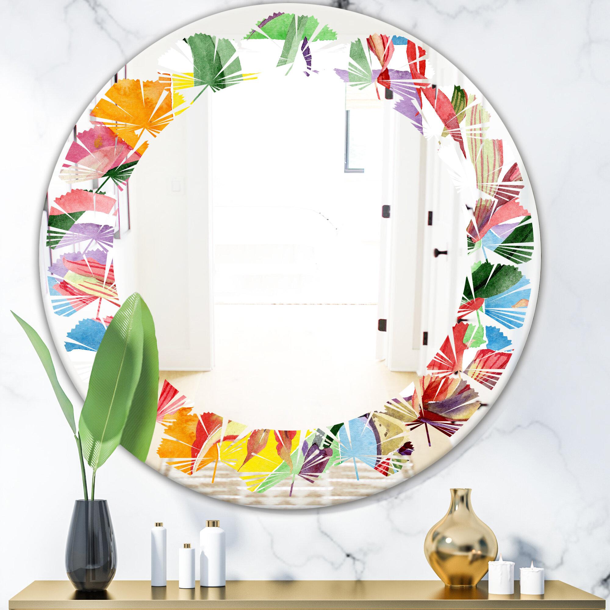 East Urban Home Floral Botanical I Leaves Coastal Frameless Wall Mirror Wayfair