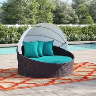 Brentwood Canopy Outdoor Patio Daybed with Cushions by Sol 72 Outdoor