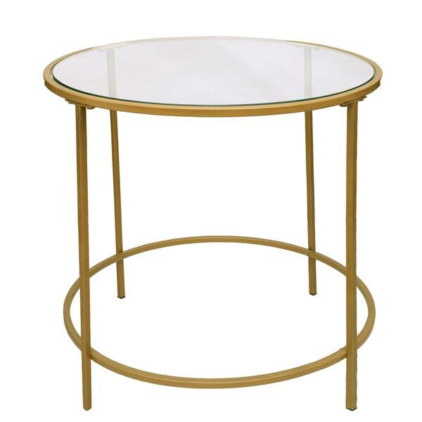 Mercer41 Dubay Round Metal Framed End Table Wayfair