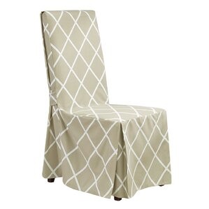 Awesome Lattice Parson Chair Skirted Slipcover