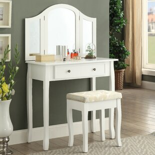 Roundhill Furniture Sunny Wooden Vanity Set with Mirror