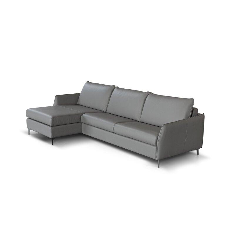 Corrigan Studio Benavidez Leather Reversible Sleeper Sectional Wayfair