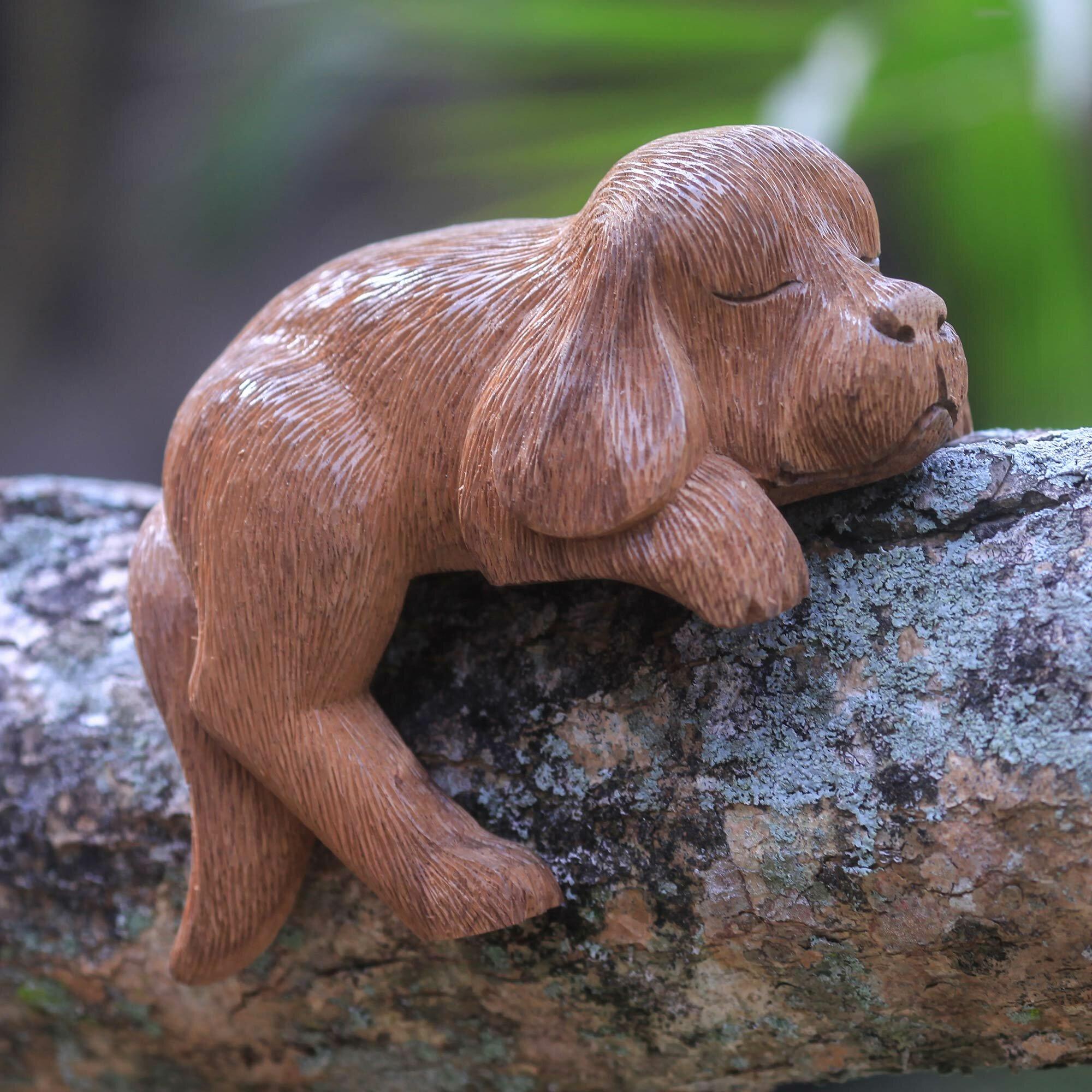 Red Barrel Studio Analise Sleepy Cocker Spaniel Puppy Hand Carved In Wood Figurine