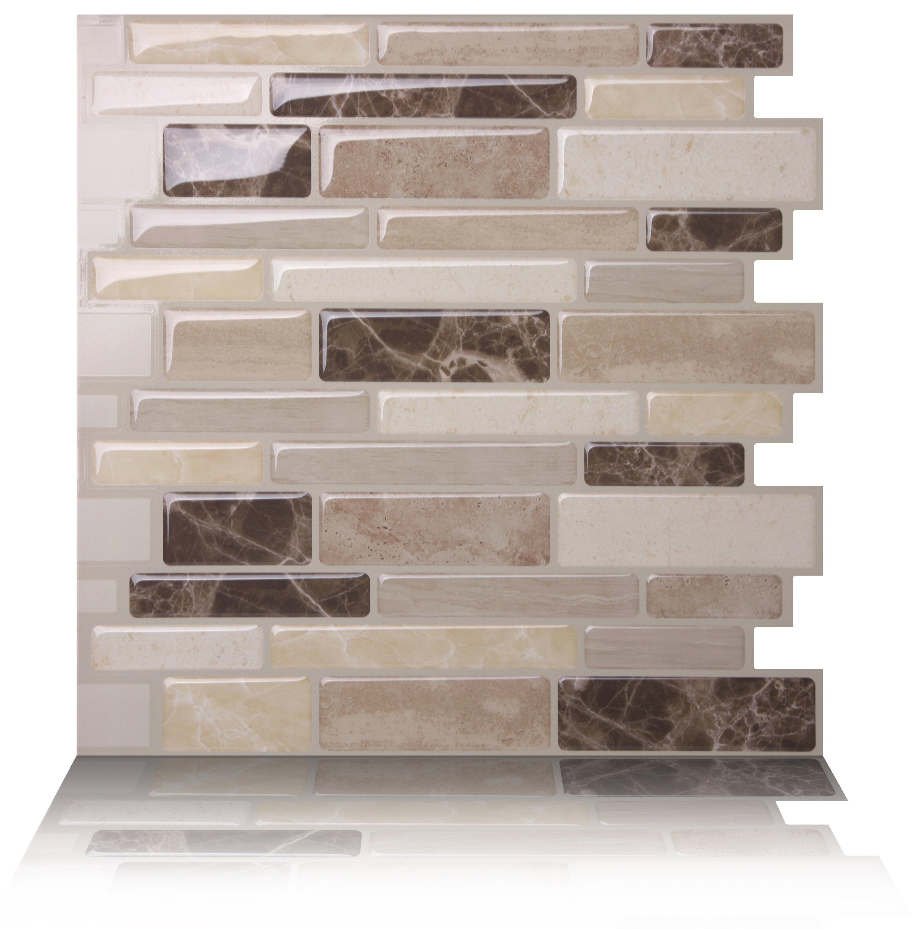 "Carrelage Metro Blanc Joint Gris tictactiles 10"" x 10"" pvc peel & stick mosaic tile in brown"